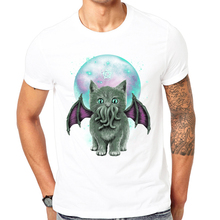 Summer new Fashion Cat of Cthulhu printed T-shirt Cool Men Summer Shirt Brand Fashion white T-Shirt Comfortable Tops Cool design