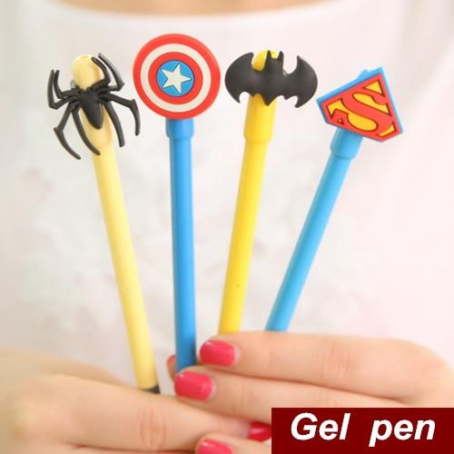 12 Pcs Lot Gel Pen Hero Superman Batman Spiderman Captain Kawaii Stationery Caneta Gift Office