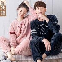 NDY Korean style Coral fleece Couple pajamas Women Winter Long sleeve fashion contracted Men's sleepwear leisure wear suits