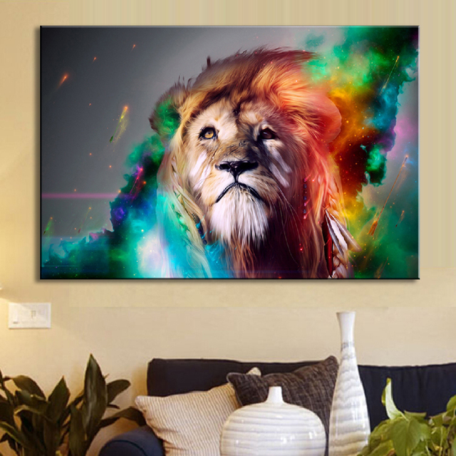 Animal Colorful Lion Wall Art Creative Lion Painting Prints On Canvas For  Living Room(no