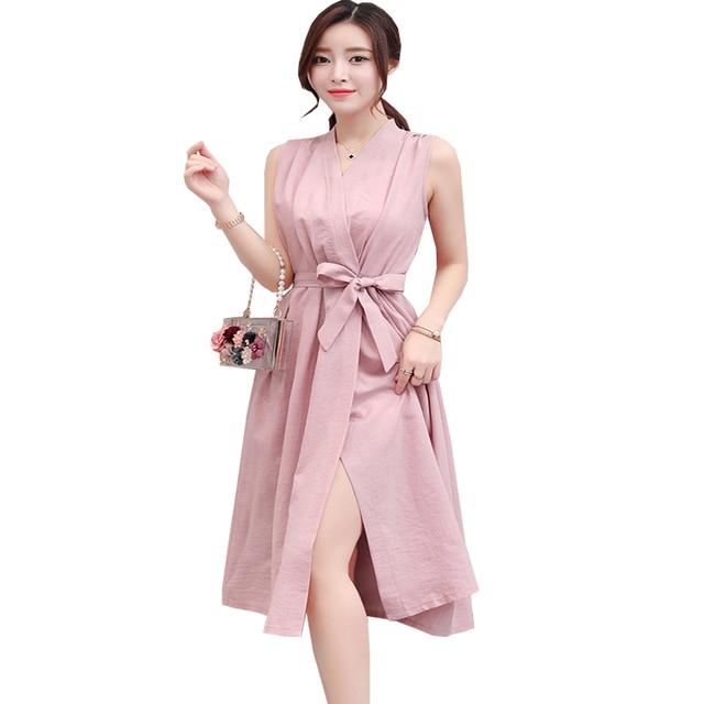 6bb6ba05d0 Elegant Spring Summer Linen Dresses Women Sleeveless A Line Dress Black  Pink Blue Soft Dress Frabic Sashes Knee Length Dresses