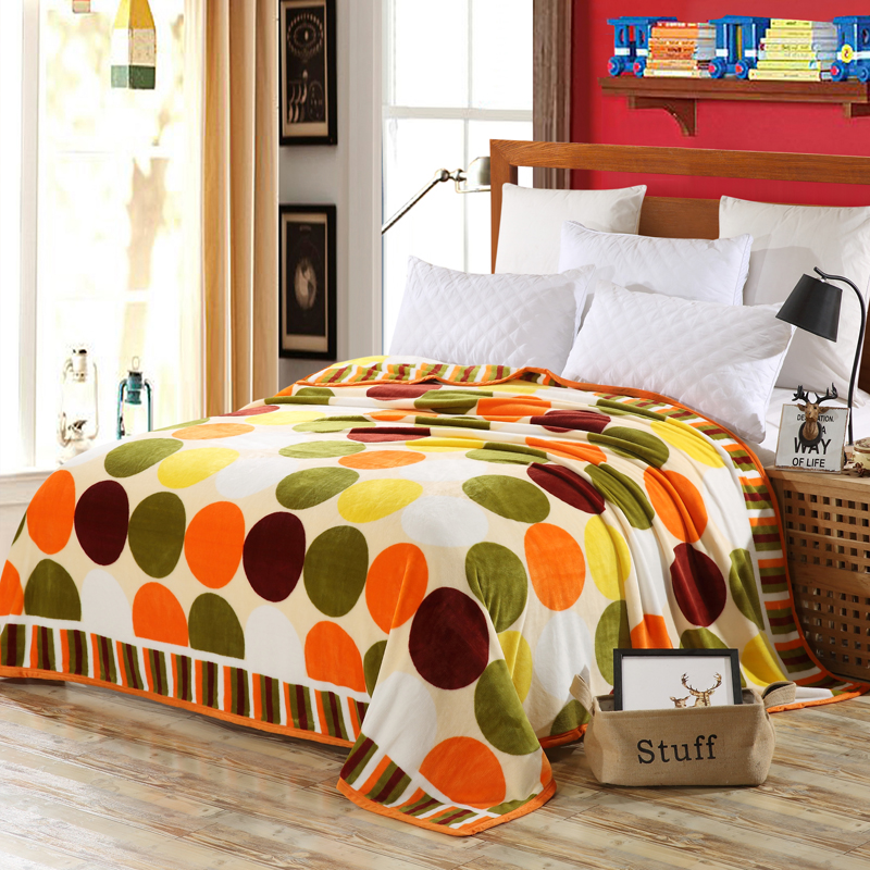 Color Circle Printing And Dyeing Patterns Bedspread Blanket High Density Super Soft  Blanket To On For The Sofa/Bed/Car Portable