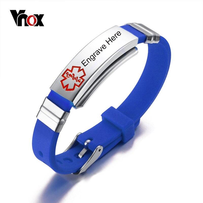 Vnox Kostenlosen Gravur Medical Alert Armband Edelstahl und Gummi ID Armband Armreif 5 Farben