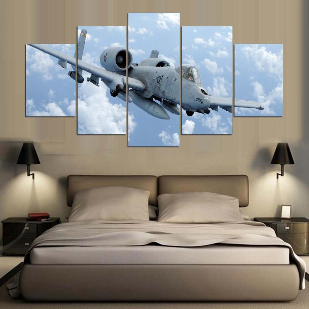 imprimer cadre peinture 5 panneau militaire avion mur toile art affiche modulaire image pour la. Black Bedroom Furniture Sets. Home Design Ideas