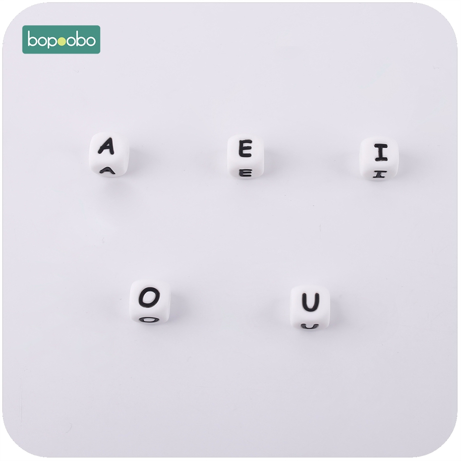 Bopoobo Baby Silicone Letter Beads 10pcs Diy Baby Name Personalized Teething Necklace Food Grade Silicone Teether BPA Free Beads