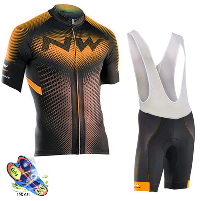 Cycling Set Orange and black jersey with black and white pants