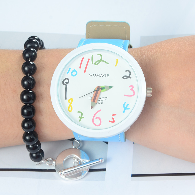 WoMage Brand Children Watches Fashion Colorful Blue Pencil Pattern Kids Wristwatch Clock Girls Boys Gift saat relojes relogio