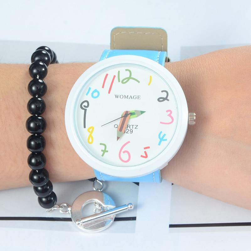 WoMage Brand Djeca Satovi Moda Šarene Plava Pencil Pattern Djeca Ručni sat Sat Djevojke Dječaci Poklon saat relojes relogio