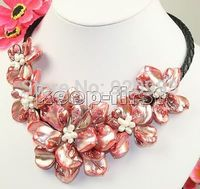 Free shipping Wholesale fast P&P***Watermelon red FLOWER MOTHER OF PEARL SHELL necklace