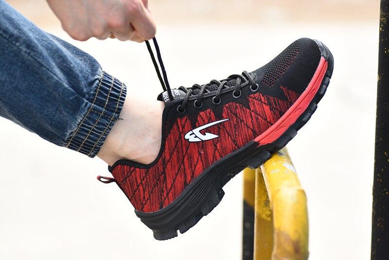 Большие размеры#39 s, Рабочая обувь с дышащей сеткой и стальным носком Мужская Уличная противоскользящая стальная защитная обувь с защитой от проколов