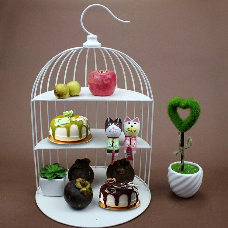 Plateau à gâteaux multicouches européen   Plateau à pâtisserie créatif présentoir à dessert pour table, présentoir à desserts en cage à trois oiseaux