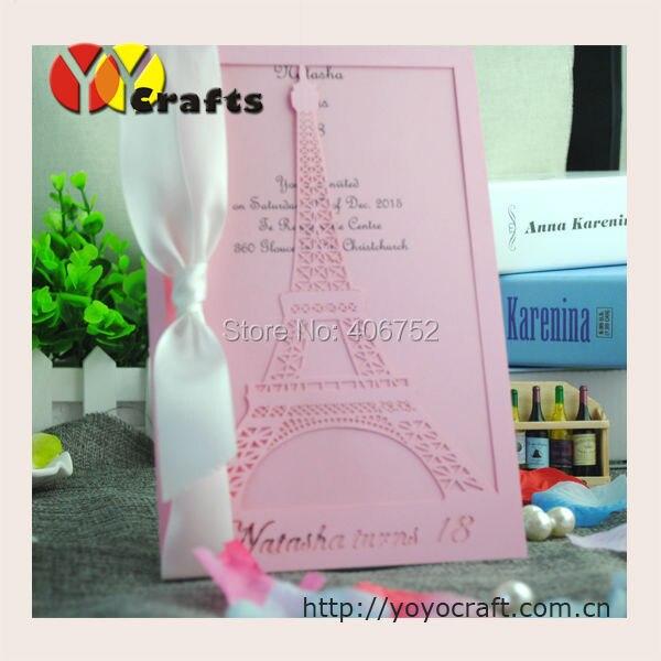 Torre Eiffel Rosa Invitaciones De Boda Invitación De