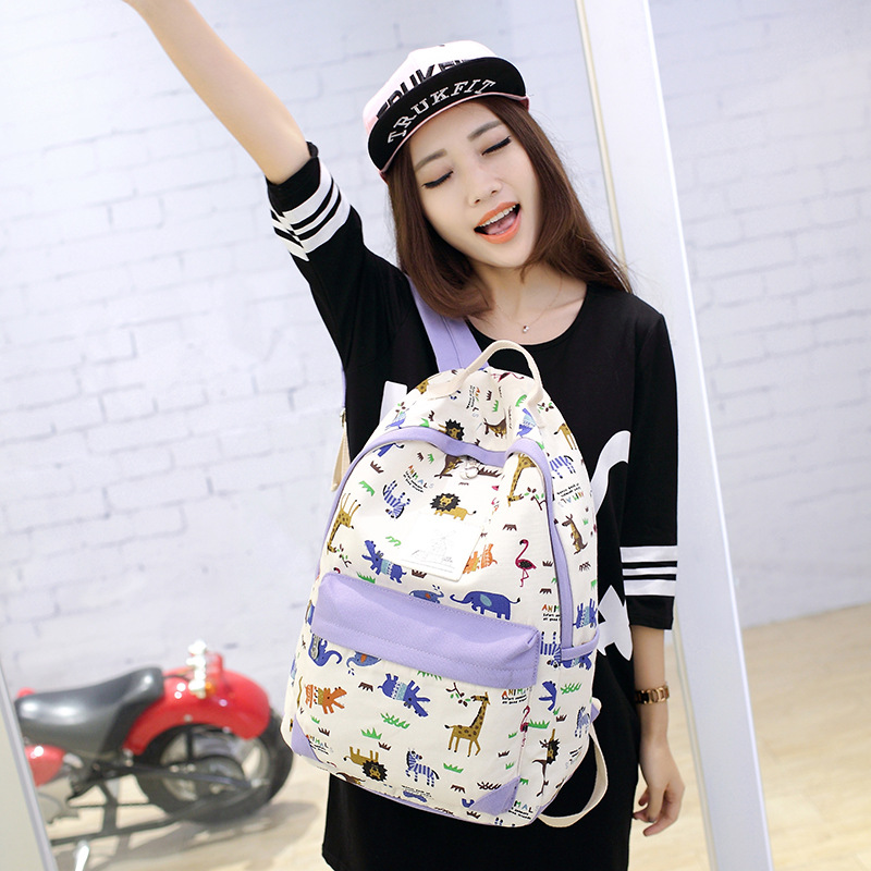 2017 OL Brand Preppy Style Canvas Backpack Set School Bag for Teenager Girl..