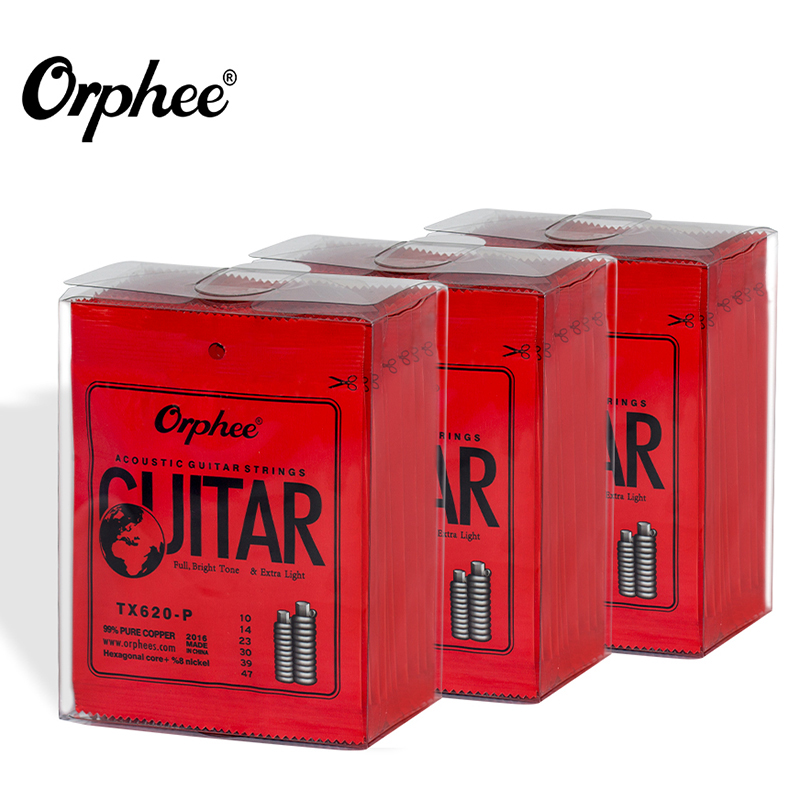 1 Set/Lot Original Orphee Acoustic Guitar Strings Hexagonal Core+8% Nickel+99% Pure Copper Wound TX620-P