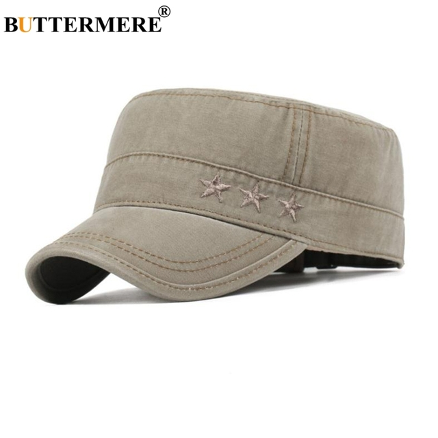 b5626be7cfab28 BUTTERMERE Men Military Caps Coffee Cotton Casual Captains Hats Women  Adjustable Vintage Army Cap Male Summer Flat Top Hat Man