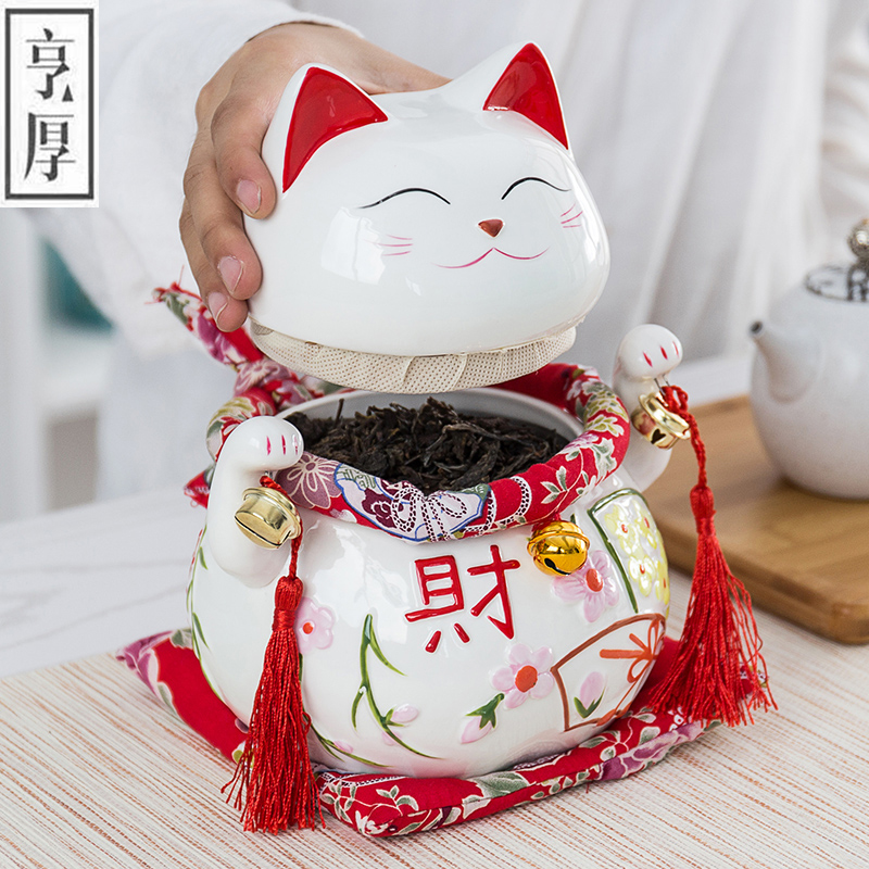 Maneki Neko Ceramic Lucky Cat Home Decor Business Gifts Fortune Money Box,Storage Bottles High-grade ceramic tea canister Gi