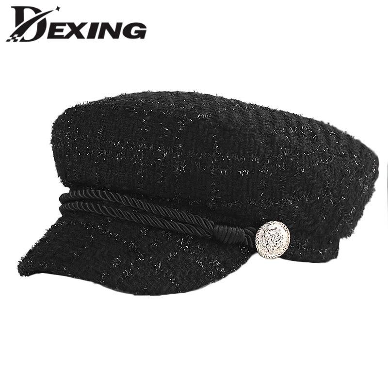 2018 Di Modo Di Inverno Dell'annata Filo D'oro Tweed Caldo Ottagonale Cappelli Per Le Donne Berretti Con Visiera Retro Cappello Militare Berretti Bianchezza Pura