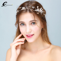 Queenco Silver Gold Floral Tiara Bride Headbands Pearls Tiaras Bridal Wedding Hair Accessories Fashion Hair Veil