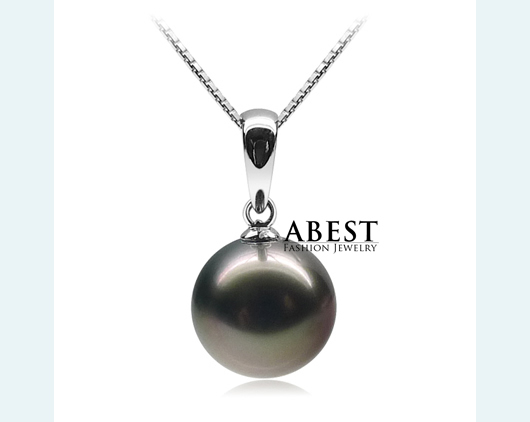 Natural Tahitian Black Pearl 10-11mm Fashion  Pendant & Chain Wholesale  Silver Jewelry in Micro Setting