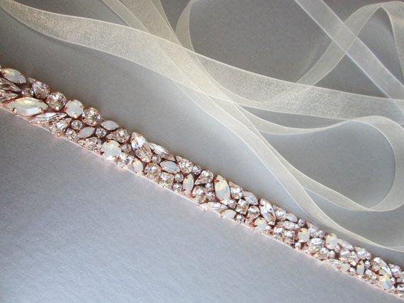 MissRDress Wedding Dress Belt Crystal Rose Gold Handmade Opal Wedding Rhinestones Bridal Belts Sash Wedding Diamond Belt JK920-in Bridal Blets from Weddings & Events