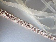 MissRDress ウェディングドレスベルトクリスタルローズゴールド手作りオパール結婚式のラインストーンブライダルベルトはウェディングダイヤモンドベルト JK920