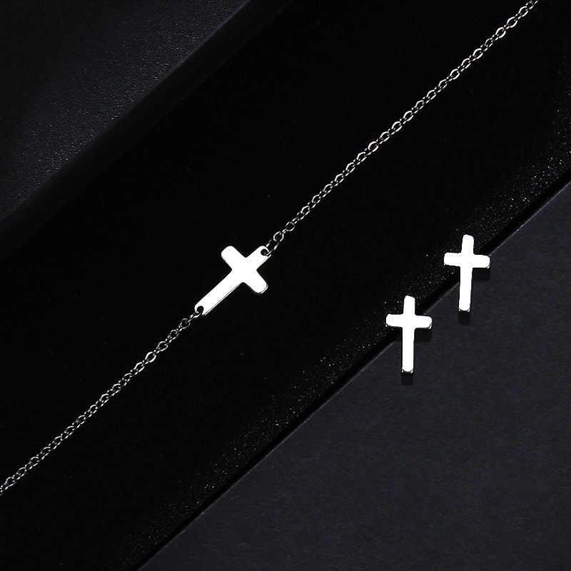 CACANA Conjuntos Para As Mulheres Forma de Cruz de Aço Inoxidável Colar Pulseira Brinco Jóias do Amante Engagement Jóias S73