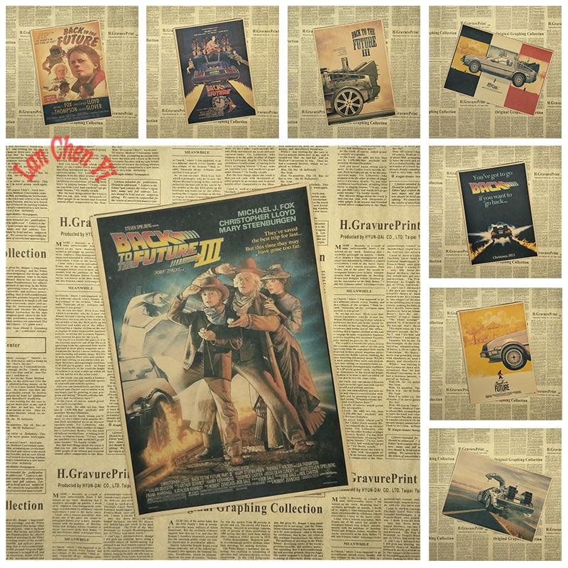 Tillbaka till framtiden Classic Vintage Nostalgisk Film Kraft Paper Poste Inredning Dekaler Gratis frakt