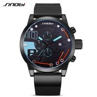 SINOBI 2017 Men Sport Chronograph Silicone Watch Waterproof Top Brand Fashion Metal Wire Watches Casual Quartz