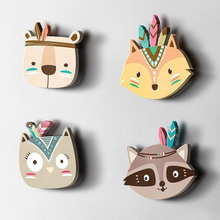 Nordic Style Home Kids Room Decorations Punch free Wood Plastic Board Cartoon Animal Head Wall Hanging Gift Children