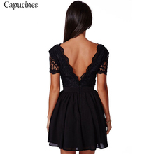 Capucines Sexy Black Deep V-Neck Lace Patchwork Summer Dress 2018 Women's Short Sleeve Slim Chiffon Party Club Dresses