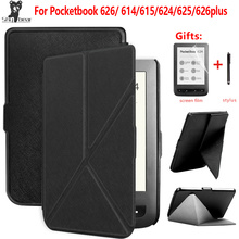 цена на PU origami stand cover for Pocketbook touch lux 624/625/626 plus ereader case+gift
