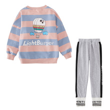 Autumn New Girls Sets Clothing Stripe Long Sleeve Tops With Leggings Outfit Girls Two Piece Kids Clothes Girls new dew shoulder design clothes the horn sleeve beautiful stripe girls blouses