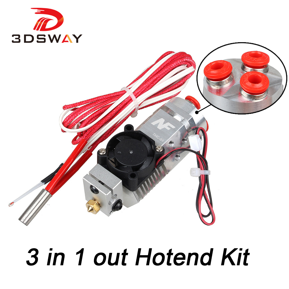 3DSWAY 3D Printer Parts 3 in 1 out Multi-color Extruder Hotend Kit NF THC-01 Three Colors Switching Hotend Kit for 0.4mm 1.75mm cyclops 2 in 1 out switching hotend multi extrusion color 3d extruder 0 5mm nozzle for 1 75mm filament