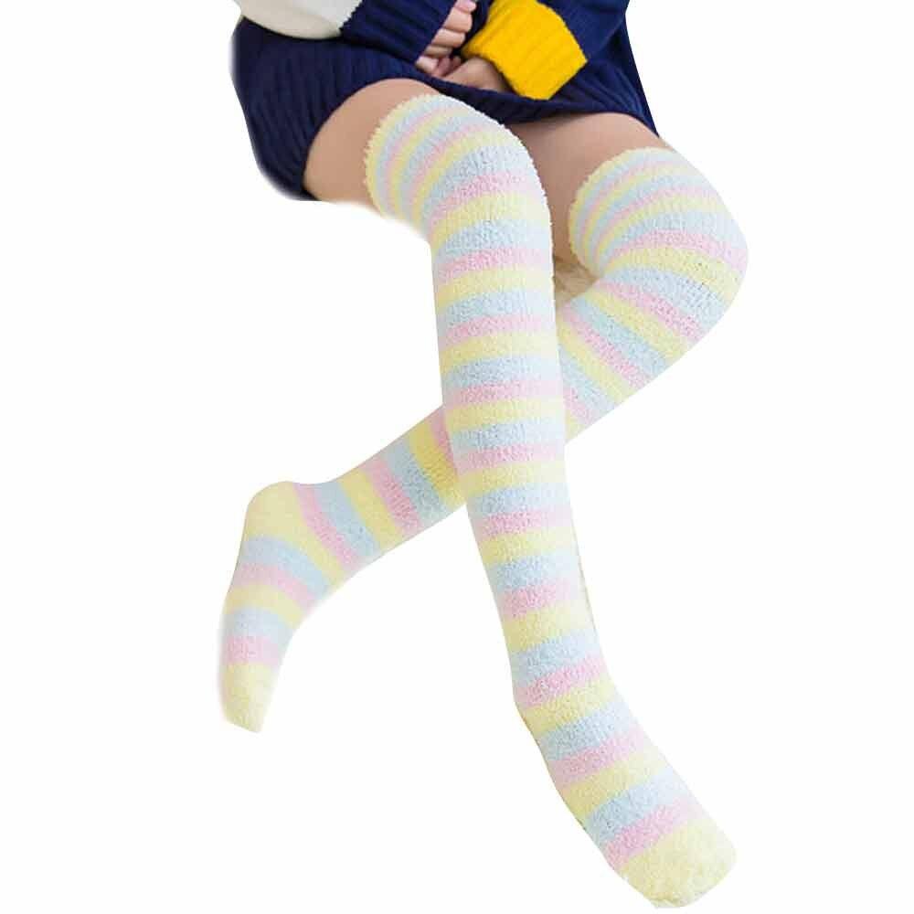 JAYCOSIN короткие носки для женщин и девочек, теплые зимние хлопковые носки, мягкие гетры выше колена, легинсы, высокие носки карамельных цветов|Чулки| | АлиЭкспресс