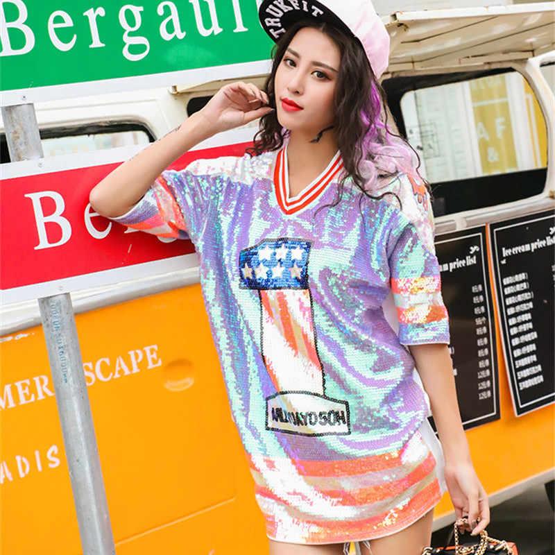 ... Cute Sequin T-shirt 2018 Fashion Hip Hop Bling T-shirt Colorful T- ... 9820c661f9fb