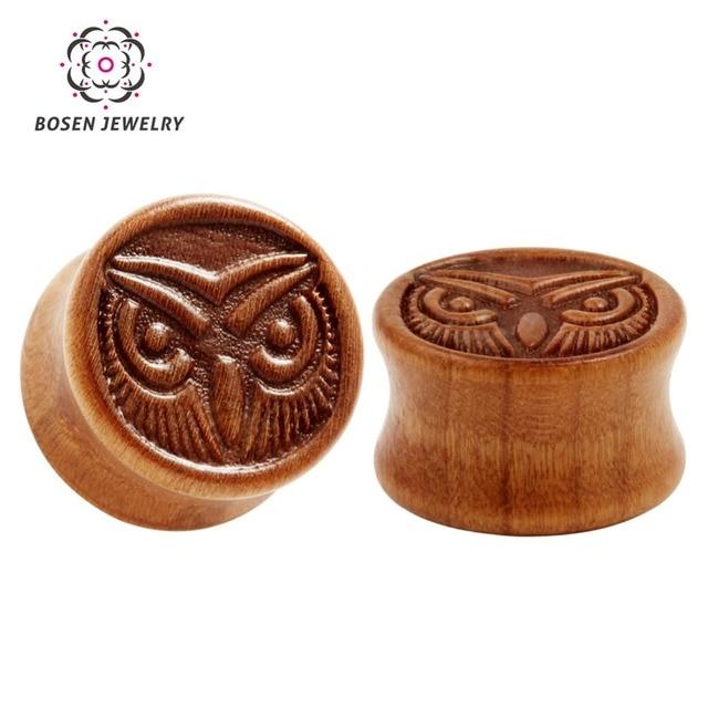 Retro Sandalwood Natural Wood Carving Owl Pattern Design Ear