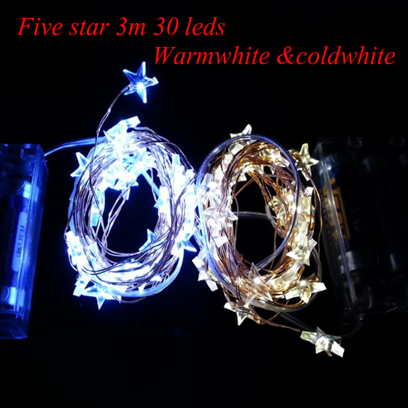 Five star 30 LEDs 3M 3AA Battery Operated LED String Lights for Xmas Garland Party Wedding Decoration Christmas Flasher Fairy