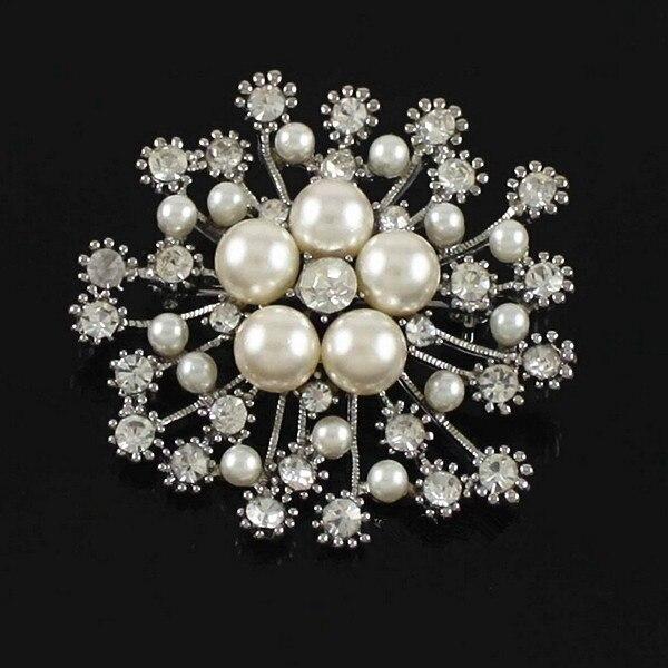 1,8 дюймов прозрачный кристалл Диаманте слоновой кости искусственный жемчуг Снежинка вечерние брошь как серебро, так и золото - Окраска металла: Silver