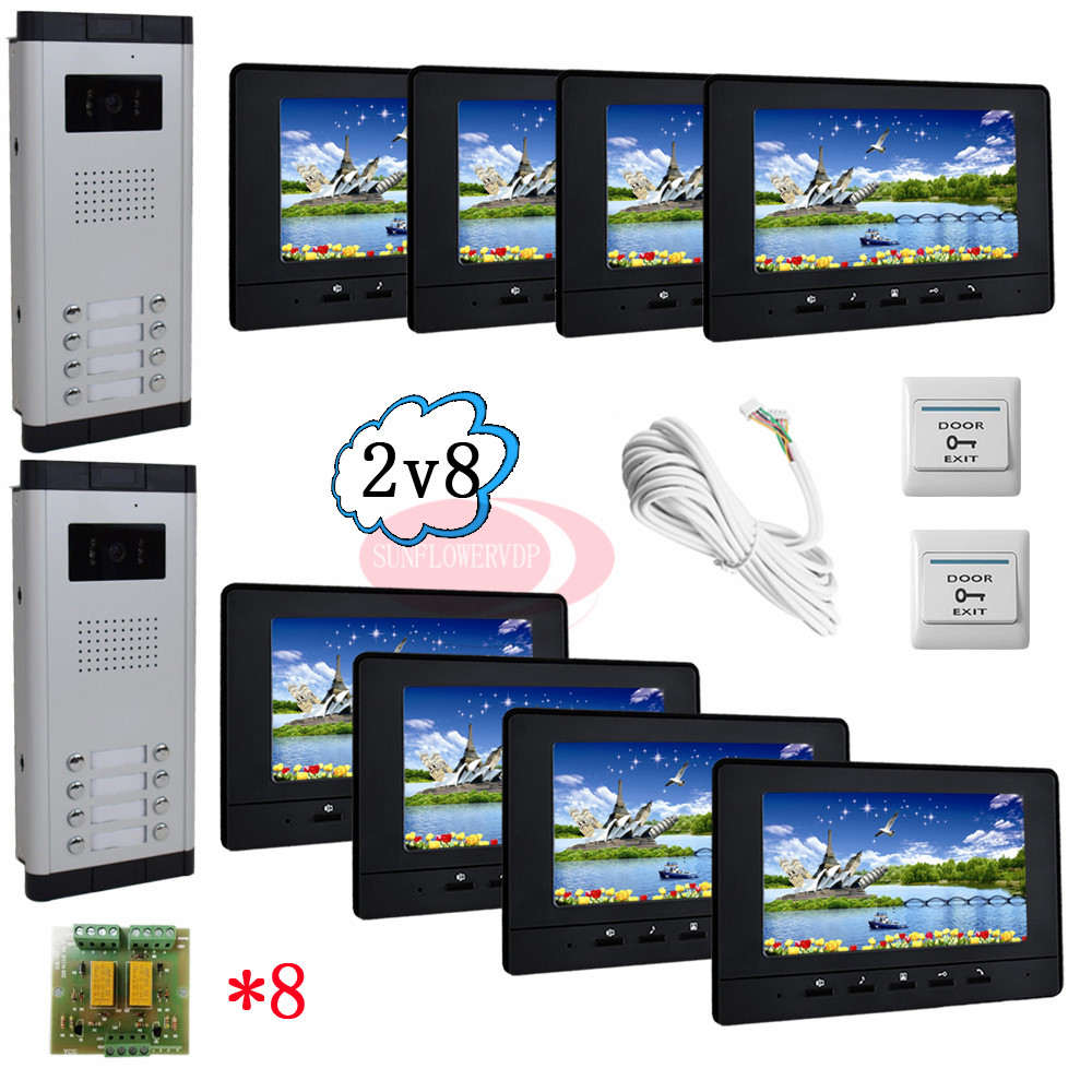8 Buttons Infared CCD Camera Color 7 HD 700lines Color Indoor Monitors Video Door Phone Intercom System For 2 Doors In Stock! 12 keys infared ccd cameras 7 hd 700lines color indoor monitors video door phone intercom system for 2 doors 12 apartments