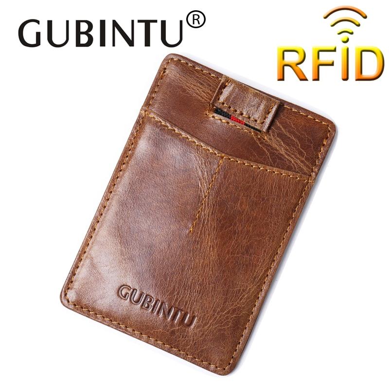 GUBINTU Vintage Wallet Genuine Leather Credit Card Holder Slim Leather Card Wallet Men Women Solid ID Card Pouch Small Bag