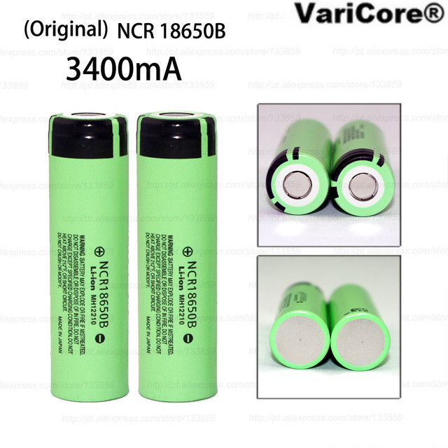 2 pcs.  New Original 18650 3.7V 3400mAh NCR18650B lithium Rechargeable battery industrial equipment using