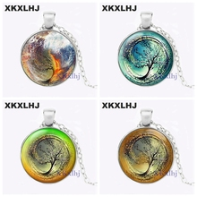 XKXLHJ Divergent Inspired 6 different Background Insurgent Sea Tsunami Glass Pendant Tree Round Necklace