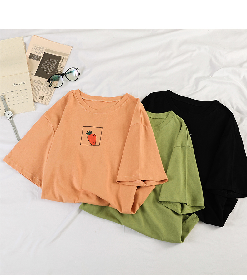 HTB11Lhtdkxz61VjSZFrq6xeLFXaf - 90s girl Fashion T Shirt Women Kawaii carrot Print Short Sleeved O-neck T-shirts Vintage Ullzang Tshirt Harajuku Top Tees Female