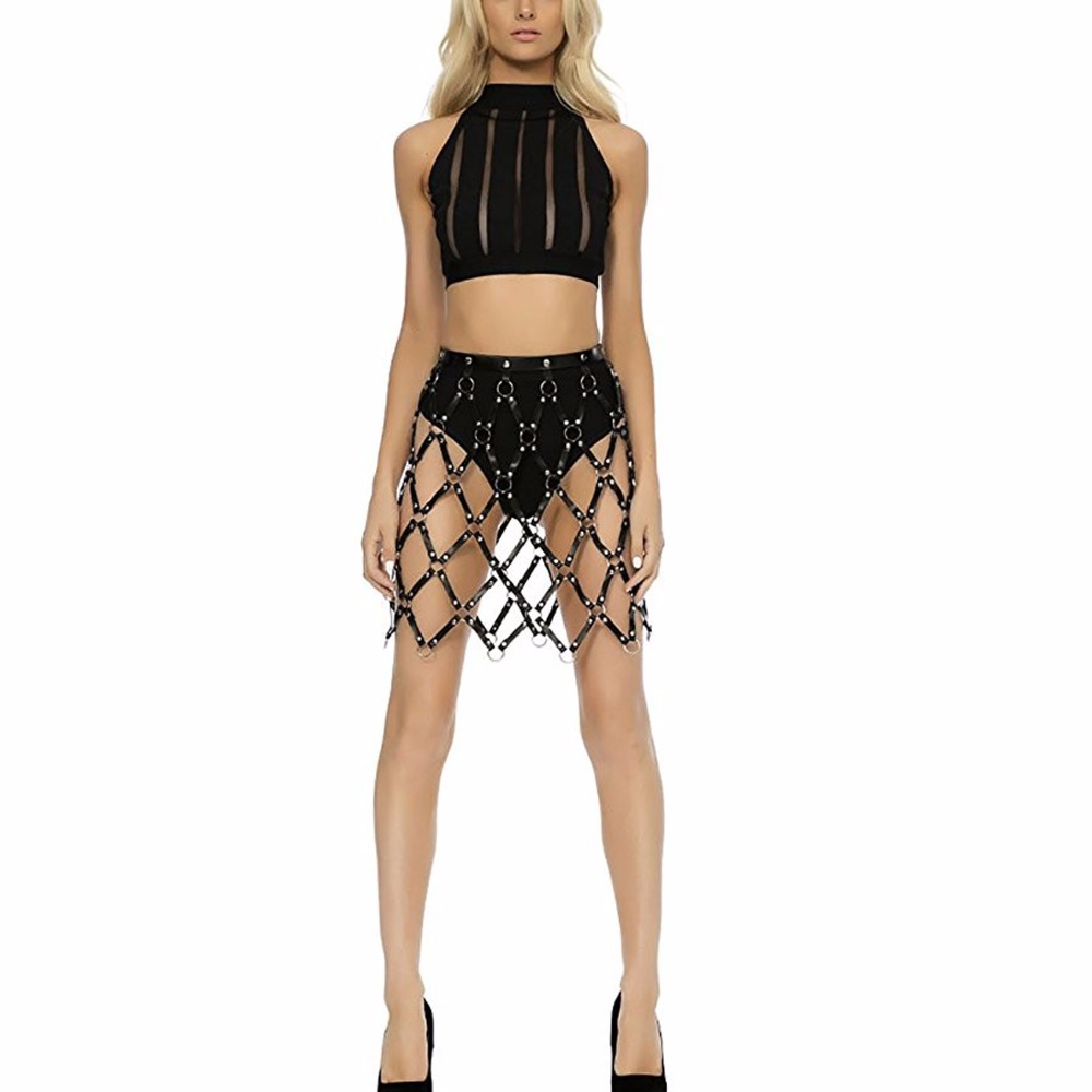 Handcrafted Sexy Pub Party chain skirts Women Frame Caged Leather Body Bondage Harness Waist Cincher Skirt Dress Belt Straps plus size women in leather