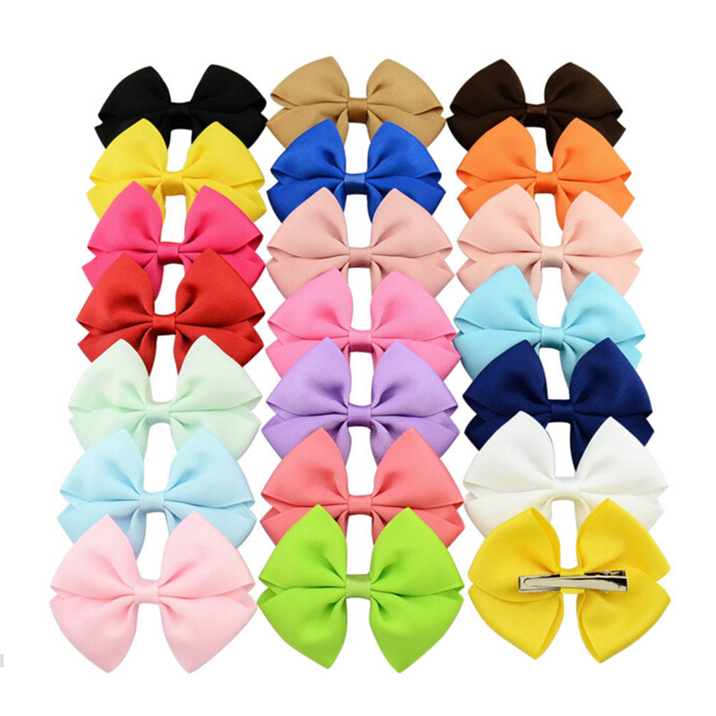 20PCS Bowknot Grosgrain Ribbon Hair Bows With Clips Girl Hair Ties Rope Kids Headbands Hair Clips Hair Accessories