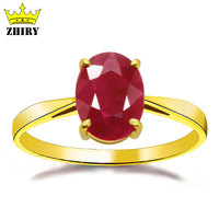 Yellow Gold Ring 100 Natural Ruby Gems 18K Gold Rings Precious Gift Engagement Wedding Ring ZHIRY