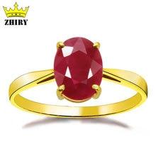 18 K yellow gold ring natural ruby gem stone precious weddin