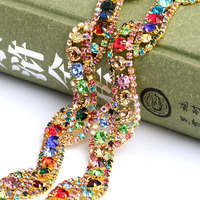 Handmade Welded Gold Plating Colorful Crystal Rhinestone Chain DIY Wedding Dress And Sew On Clothing Jewelry