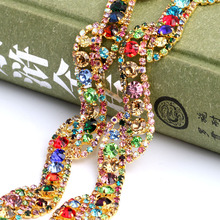 Handmade Welded gold plating Colorful Crystal Rhinestone Chain DIY Wedding dress and Sew on clothing jewelry accessories 1yard