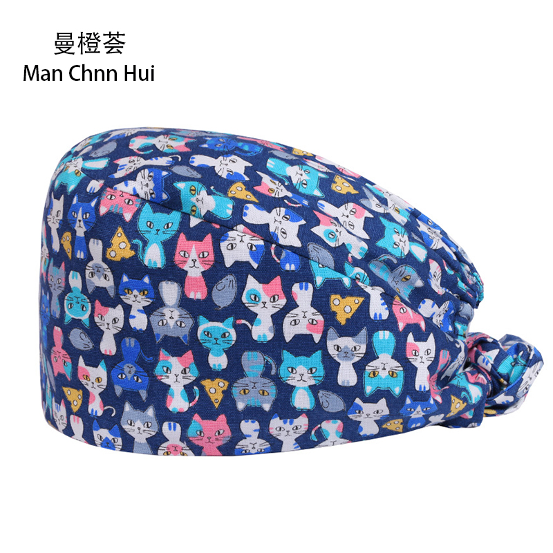 Surgical Scrub Hats//Caps Sugar Skulls Black and Silver